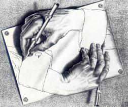 Escher Drawing Hands 1948